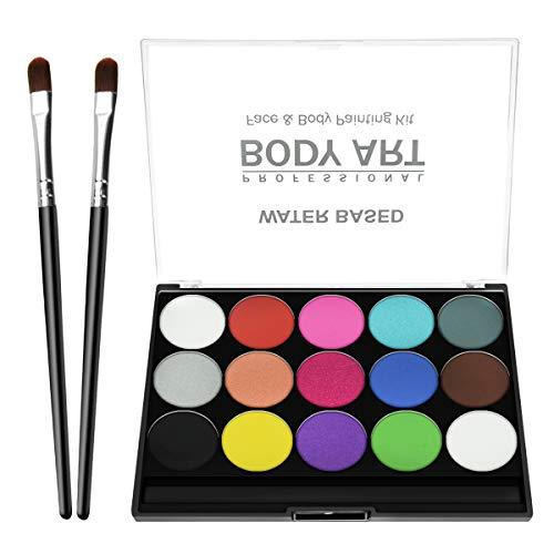Maquillage Palette de maquillage pour enfants, 15 couleurs Hypoallergénique Maquillage Palette à base d'eau non toxique approuvé par la FDA, facile à porter et à enlever, pour la fête d'Halloween