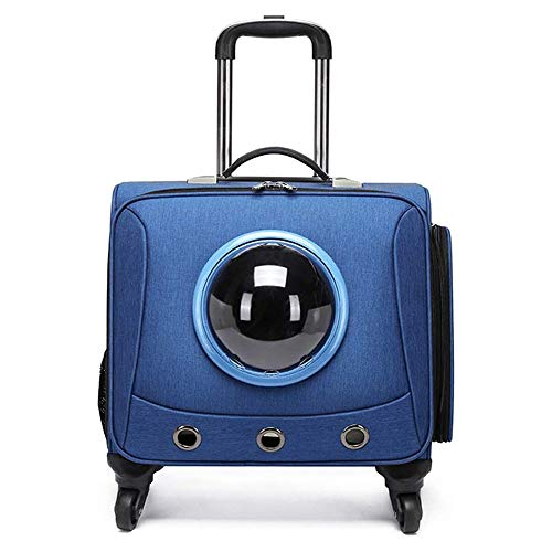 TRS Pet Carrier Backpack for Dogs Cats, Space Capsule Bubble Design Expandable with Breathable Mesh for Small Dogs Cats Puppies (Color : Blue)