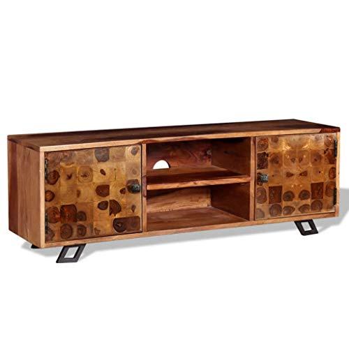 Vidaxl Bois Massif De Pin Meuble Tv Avec 2 Tiroirs Armoire Basse Salon Stereo Ameublement Et Decoration Meubles