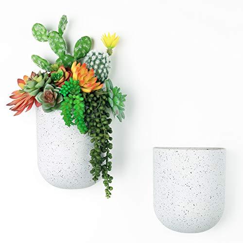 LA JOLIE MUSE Set di 2 fioriere sospese a parete - Vasi da fiori moderni con fori per appendere, vasi da giardino verticali per interni, bianco maculato