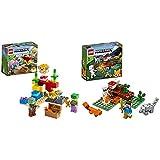 LEGO Minecraft La Barriera Corallina, Set Di Costruzioni Con Alex, Zombi Annegato E 2 Pesci Palla, 21164 & Minecraft AvventuraNellaTaiga, Set Di Costruzioni Con Figure Di Steve, Lupo E Volpe