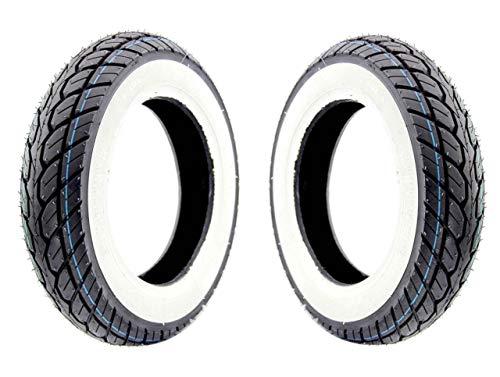 Streetparts24 Weisswand Reifen Satz K418 3.50-10 4PR 51J TL für Roller/Scooter