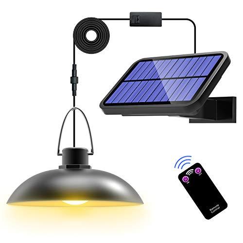 T-SUN Solarlampen für Außen mit Fernbedienung, Solar Hängelampe für Außen mit 3M Kabel, IP65 Wasserdicht, 180 ° Einstellbares Solarpanel Solarleuchte Außenwandleuchte für Camping Garden Home Decorate