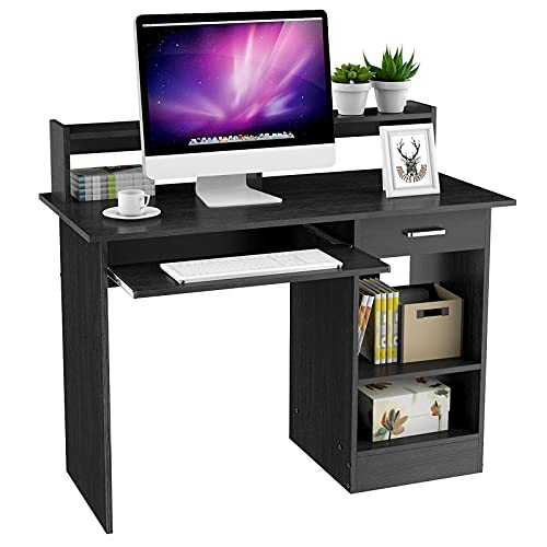 Yaheetech Home Office Wood Computer Desk with Drawers, Hutch with Pull-Out Keyboard Tray, Study Writing Desk PC Laptop Table with Storage Shelves, Modern Workstation, Black