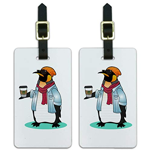 Cool Penguin Hipster with Coffee Luggage ID Tags Carry-On Cards - Set of 2