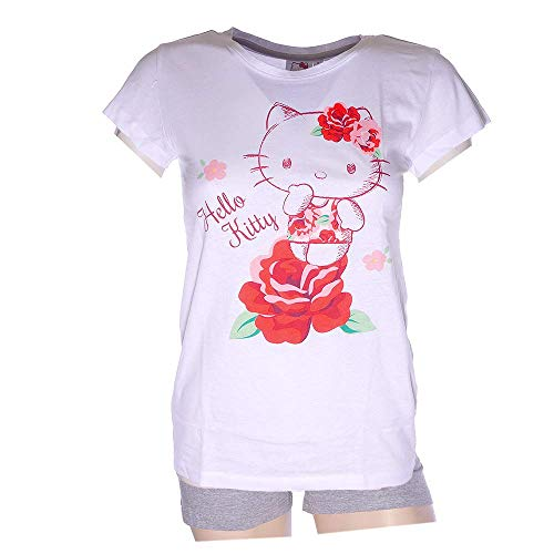 Schlafanzug Damen Pyjama kurz Hello Kitty Mouse Shorty Set - Weiß/Grau (M)