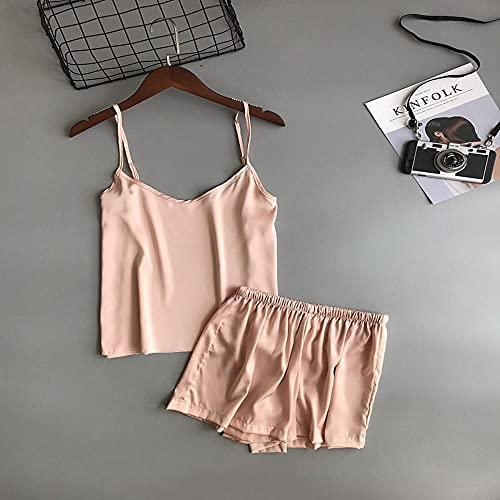 AOQW Solid Color Mujeres Pijama Camisole Pijama Set Mujer Chaleco De Verano Traje Fiestas De Ropa De Dormir En Casa O Incluso Yoga Ropa Deportiva-Flesh_XL