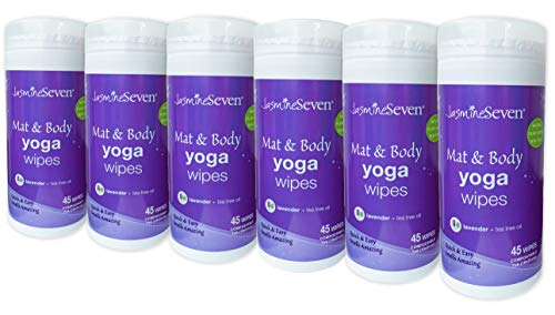 Yoga Wipes for Mat and Body - CASE of 6 - Natural Lavender and Tea Tree - by Jasmine Seven - for Studio, Gym, Spa, Fitness