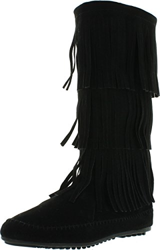 Nature Breeze Womens Cherokee-03 Fringe Mocassin Faux Suede Boots,Black,9