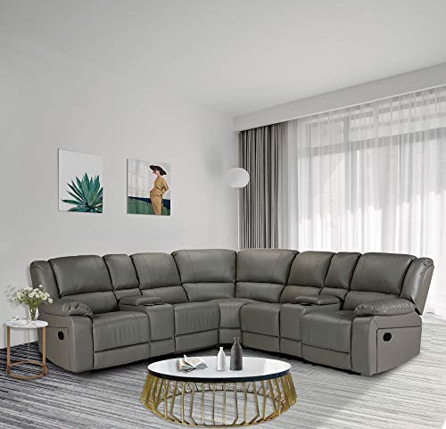 HOMMOO Recliner Sofa Set PU Leather Sofa and Couch, Corner Sectional Sofa with Cup Holder Manual Reclining Chair Power Motion Sofa for Living Room (PU Grey)