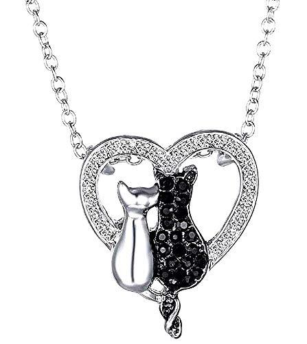 Ketting - verliefde katten - met glitter lichtpunten - unisex - man - hart - vrouwen - zwarte en zilveren kleur - cadeau-idee voor kerstmis en verjaardagen strass