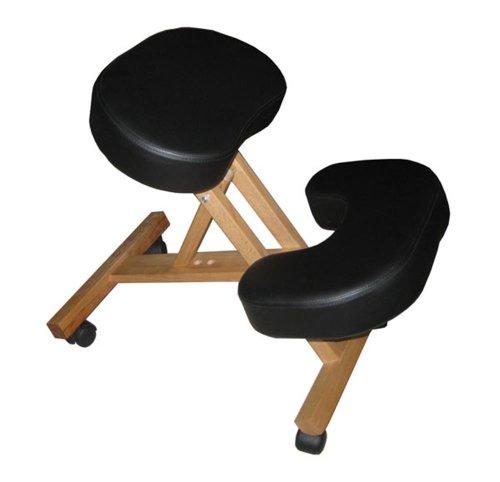 Silla A3K oficina ergonómica negra con apoyo para las rodillas