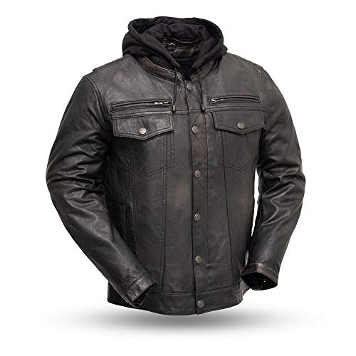 First MFG Co. - Vendetta - Men's Protective Biker Motorbike Motorcycle Leather Jacket (Black Olive, Medium)