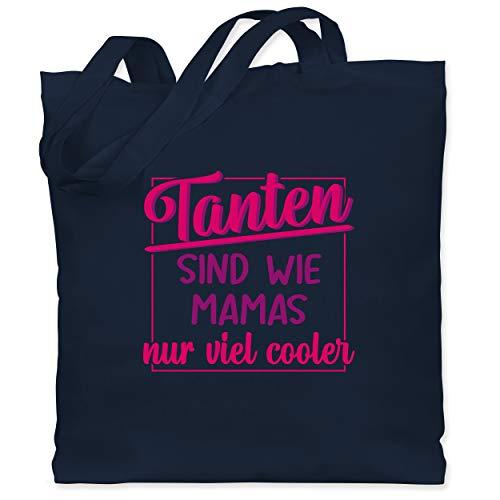 Shirtracer Schwester & Tante - Tanten sind wie Mamas nur viel cooler - Unisize - Navy Blau - Tanten sind wie Mamas - WM101 - Stoffbeutel aus Baumwolle Jutebeutel lange Henkel