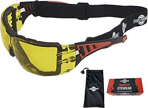 ToolFreak Rip Out Arbeits- und Sportschutzbrille Gelbe Brille, Rundumbrille, Schaumstoffpolsterung, Aufprall- und UV-Schutz, Stirnband und Tragetasche