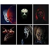 Juego de 6 fotos (27,9 x 35,5 cm), diseño de villano de Pennywise Jason Voorhees Michael Myers Freddy Krueger Ghostface Chucky