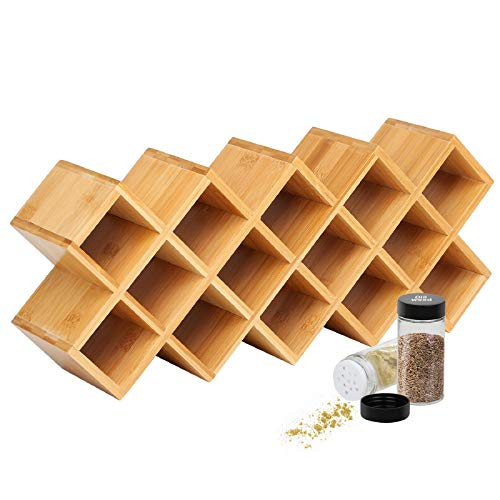 Criss-Cross 18-Jar Bamboo Countertop Spice Rack Organizer, Kitchen Cabinet Cupboard Wall Mount Door Spice Storage, Fit for Round and Square Spice Bottles, Free Standing for Counter, Cabinet or Drawers