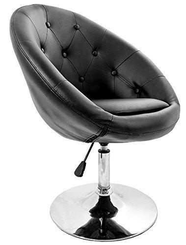 La Silla Española Marbella Taburete de Diseño, Piel, Negro, 50x40x63 cm