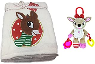 Rudolph The Red Nose Reindeer Plush Blanket (30 x 60) and Musical Baby Clarice Activity Toy Bundle
