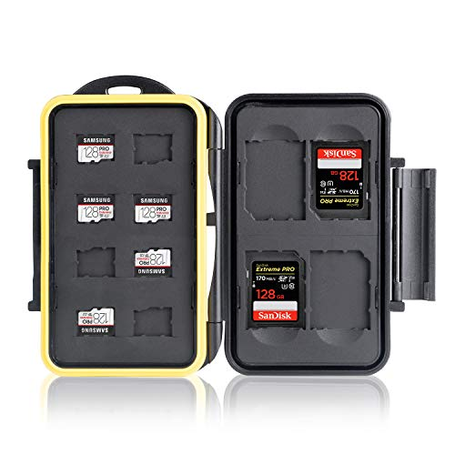 Ares Foto® MC-SDMSD12 Speicherkarten Schutzbox • Memory Card Case • Card Safe • Tasche • Etui • Aufbewahrung & Transport für 8 Micro SD und 4 SD Karten - Neue Version 2020