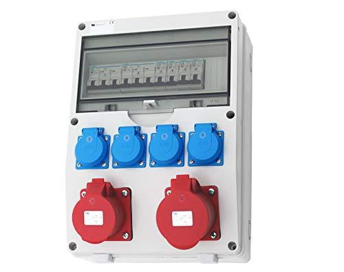 Wandverteiler CEE + 1x16A + 1x32A + 4x230V Stromverteiler Baustromverteiler Feuchtraumverteiler Komplett AWVT6