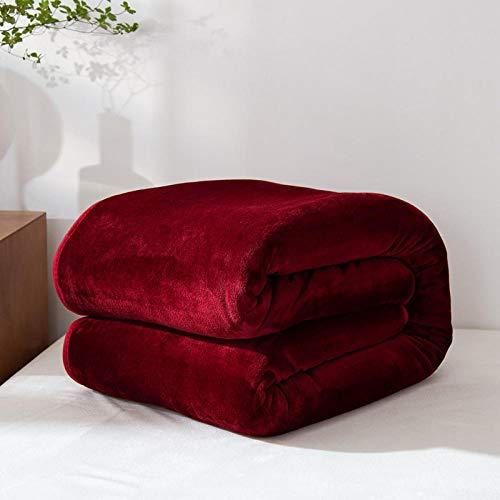 XUMINGLSJ Mantas para Sofás de Franela- Manta para Cama Reversible de 100% Microfibre Extra Suave -Granate_El 150cmX200cm
