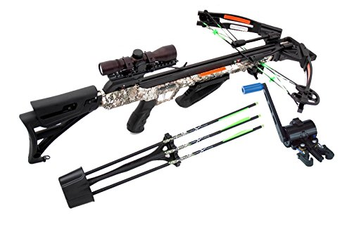 Carbon Express 20309 Blade Pro with Crank Package, 350 FPS,3 Bolts Field Tips, Quiver, Rope Cocker,4x32 Scope, Lube & Free Crank Cocking Device, Disruptive Camouflage