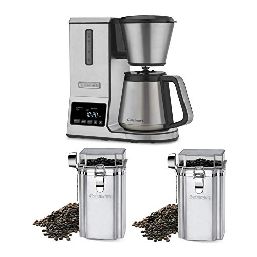 Cuisinart PurePrecision Pour Over 8-Cup Coffee Brewer with Thermal Carafe and Two Coffee Canisters Bundle (3 Items)