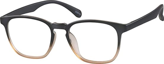 Zenni - Blokz Blue Blocker Computer Glasses | UV Filters Reduce Eyestrain | Brown Frame | Square Universal Bridge Fit | Model 2020115