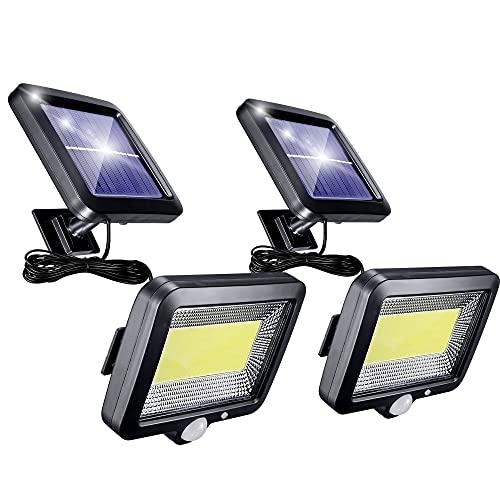 Solarlampen für AußEn mit Bewegungsmelder, 56 Led solar led strahler mit 5m Kabel, 3 Modi 120° Superhelle Solar Lampe Outdoor IP65 Wasserdichte Solar Licht Led Solar Strahler (2 Stück)
