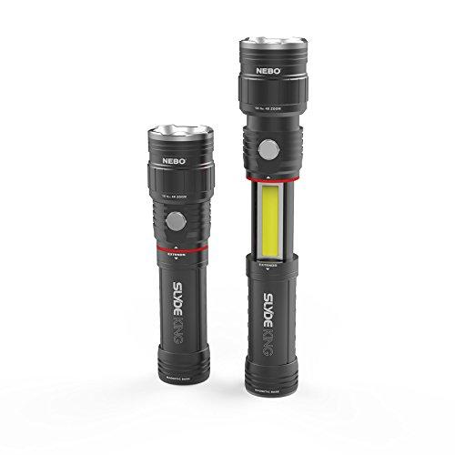 Nebo NB6434 SLYDE King LED/COB Slider-Taschenlampe, Luftfahrt-Aluminium, 330 Lumen Fokus System, Li-Ion Akku, wasser- und stoßfest