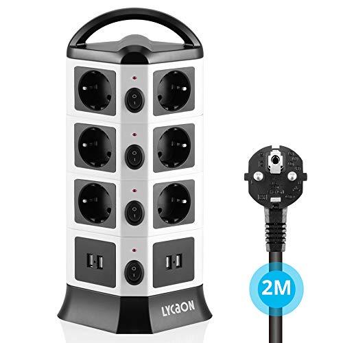 LYCAON Mehrfachsteckdose Steckdosenleiste Steckdosen (2500W/10A) mit 4 USB(2,1A) und 6.5ft Kabel, Steckdosenturm mit Schalter, Überspannungsschutz und Kurzschlussschutz (4 Schichten)