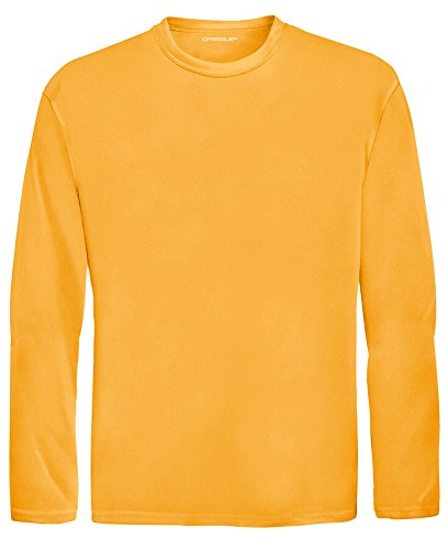 DRI-EQUIP Youth Long Sleeve Moisture Wicking Athletic Shirts. Youth Sizes XS-XL, Gold, Medium