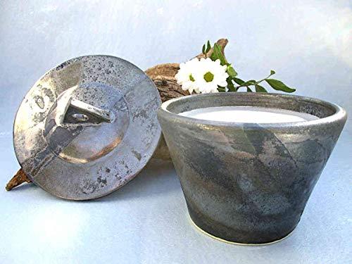 Kerzenfresser Keramik Indoor silber-blau mit Deckel, 13x13 cm, Wachsfresser für innen, Schmelzlicht, Tischfeuer, zum Schmelzen von Kerzen- und Wachsresten, mit Glasfaserdocht, reine Handarbeit