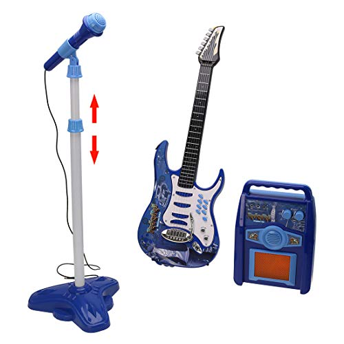 Yamix Kids Electric Musical Guitar Toy Play Set with Microphone Amplifier, Kids Karaoke Machine Microphone Guitar Music Toy (Blue)