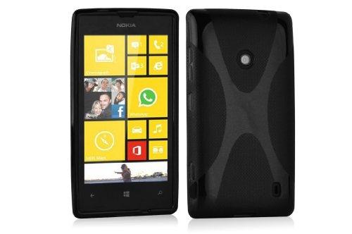 Cadorabo Custodia per Nokia Lumia 520 in Nero Profondo - Morbida Cover Protettiva Sottile di Silicone TPU con Bordo Protezione - Ultra Slim Case Antiurto Gel Back Bumper Guscio