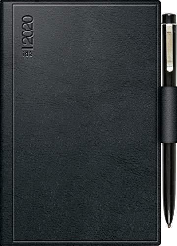 rido/idé 701626390 Taschenkalender Industrie II (1 Seite = 2 Tage, 75 x 112 mm, Kunststoff-Einband Skivertex, Kalendarium 2020, mit Kugelschreiber) schwarz
