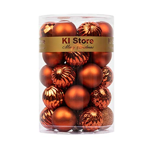 KI Store 34ct Christmas Ball Ornaments 1.57 Small Shatterproof Christmas Decorations Tree Balls for Holiday Wedding Party Decoration, Tree Ornaments Hooks Included (Bronze, 1.57-Inch)