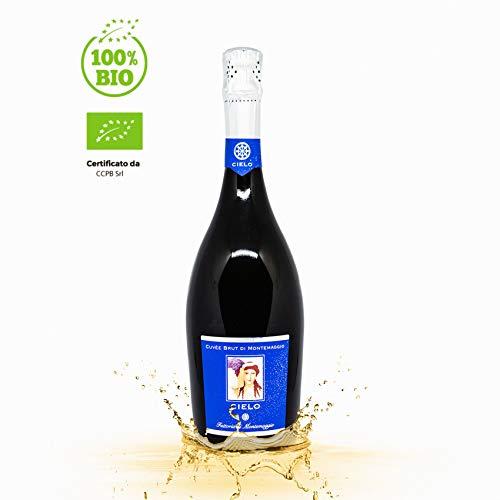 Il Cielo di Montemaggio Schaumwein - Cuvee Brut - Extra Trocken - Sekt - 100% Chardonnay - Luxuriöser Edler Bio-Wein aus Italien - Fattoria di Montemaggio - 0.75L