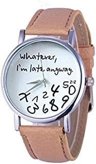 Wohome Hot Women Leather Watch Whatever I am Late Anyway Letter Watches BG