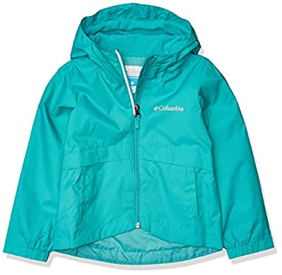Columbia Girls' Big Rain-Zilla Jacket, Waterproof, Reflective, Bright Aqua, Medium