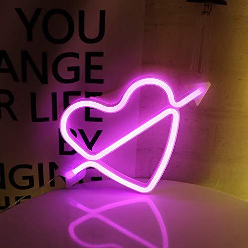 ENUOLI rosa neón del LED de luz LED Arco de Cupido signo en forma de decoración luz de la noche del corazón del amor de lámparas de marquesina Carta sesión regalos para el Día de la fiesta de cumplea