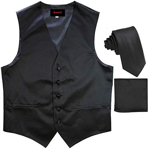 Brand Q Men's Tuxedo Vest, Tie & Pocket Square Set-Black-XL