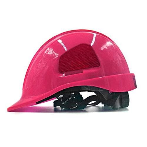 QXX Helm Baustelle Antikollisions Elektriker Arbeitsversicherung Helm ABS Elektriker Schutzhelm Belüftung Atmungsakt (Farbe : Rosa)