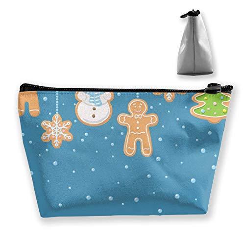 Weihnachten Schneemann und Keks Make-up Tasche Große Trapez Aufbewahrung Reisetasche Waschen Kosmetikbeutel Stifthalter Reißverschluss Wasserdicht Tragbar 7604