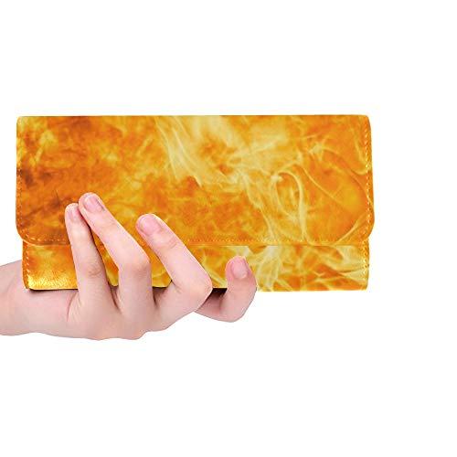 Único Personalizado Abstracto Blaze Fuego Llama Textura Mujeres Trifold Monedero Monedero Largo Titular de la Tarjeta de Crédito Caso Bolso