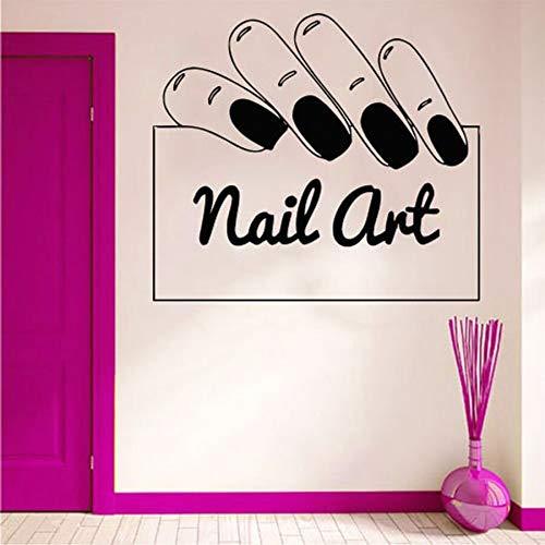 Nail art tatuajes de pared salón de belleza mujer salón de uñas decoración de interiores diseño de manicura vinilo ventana pegatinas de vidrio