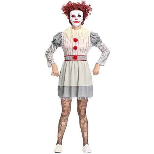 Disfraz Payaso Vintage Clown Lady Costume Pennywise Stephen King Asesino Adulto Halloween Terror Traje Payaso,A,XL