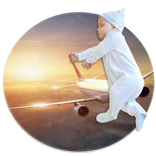 Alfombra Redonda, felpudos, Alfombra,Avión de avión Comercial en Las Nubes. Antideslizante para Dormitorio, Sala de Estar, habitación para niños o para Libros