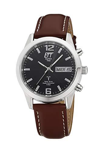 ETT Eco Tech Time Funk Solar Herren Uhr Analog mit Leder Armband EGS-11423-31L